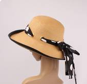 HEAD START braid hat w spotted trim and rear bow nat/blk and white Style: HS/1430/NAT/BLK