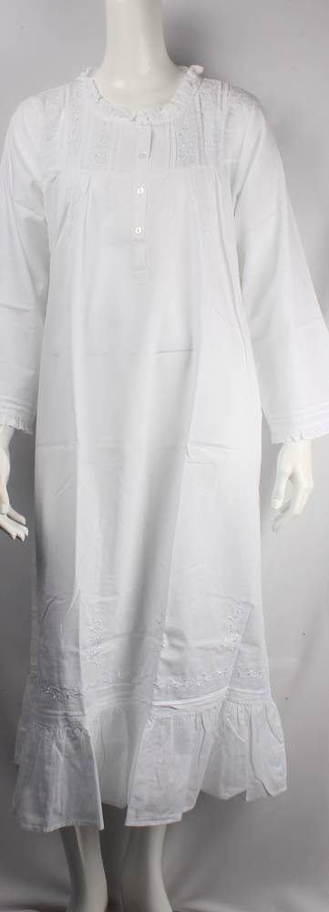 Cotton full length winter nightie w long sleeves,button front embroidered white Style:AL/ND-170/WHT