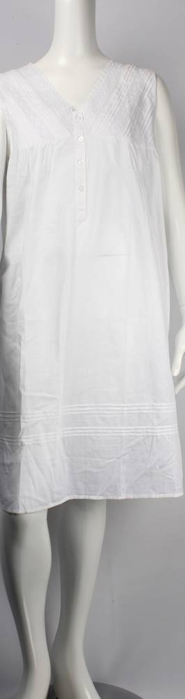 Cotton sleeveless V neck nightie w lace and pintucked bodice white Style: AL/ND-196WHT
