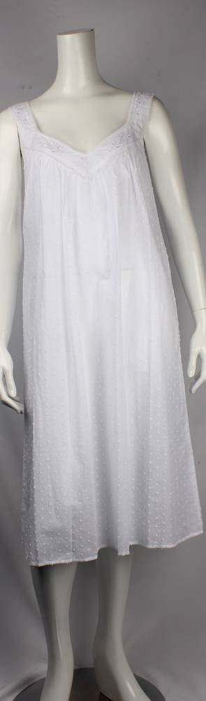 Cotton Swiss dot  sleeveless V neck nightie, embroidered  w lace trim neck   Style: AL/ND-240WHT