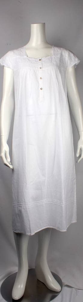 Cotton cap sleeve  nightie w embroidered yoke and sleeves  Style: AL/ND-247WHT