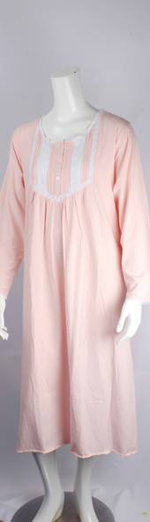 Cotton knit L/S nightie w button neck and embroidered lace yoke and cuff  pink Style:AL/ND-282
