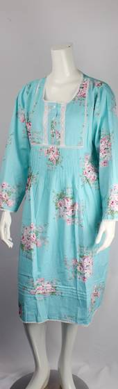 Cotton floral L/S nightie w buttons, pleats ,lace trim neck,hem and cuffs blue  Style:AL/ND-288