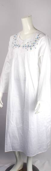 Winter weight cotton L/S nightie w embroidered and lace trimmed yoke white/blue Style:AL/ND-290
