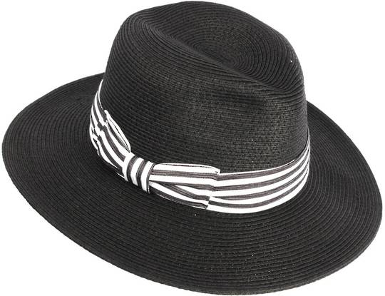 HEAD START Black fedora w dashing back and white band Style: HS/3022/BLACK