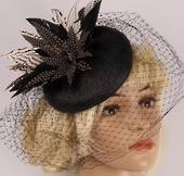 Head band net  hatiinator w feathers black and white STYLE: HS/3027 /B/W