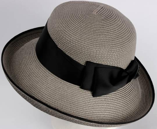 HEAD START  braid Bretton upturn  w wide black band, bow and trim Style: HS/3023/SLATE