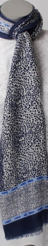 Soft winter printed scarf navy Style: SC/4264NAV