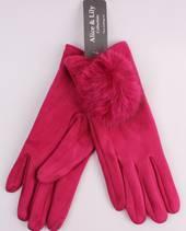Winter ladies thermal glove w fur trim fushia Style; S/LK4618FUSHIA
