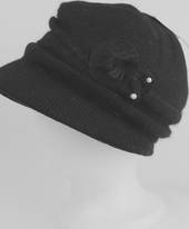 Headstart angora cloche w fur flower and pearl beads black  Style : HS/4626