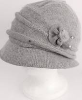 Headstart angora cloche w fur flower and pearl beads grey  Style : HS/4626