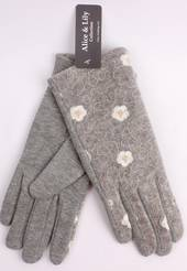 Winter ladies embroidered fabric glove grey Style; S/LK4619/GRY