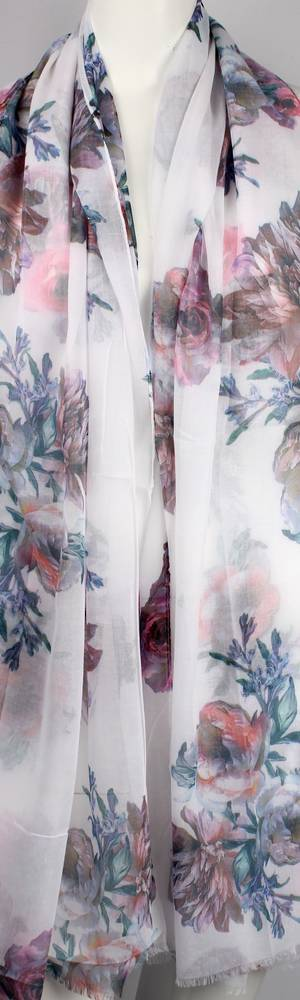 Alice & Lily printed  scarf floral white Style:SC/4647/WHT