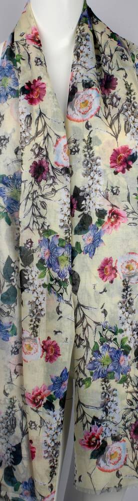 Alice & Lily printed  scarf  garden floral yellow Style:SC/4649/YEL