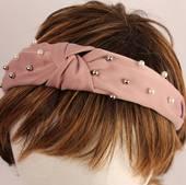 Fashion pearl bead headband pink Style: HS/4668/PNK