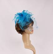 Head band crin  fascinator w feathers and net turq STYLE: HS/4675 /TURQ