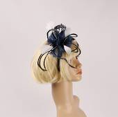 Head band feather  fascinator  blue w black contrast STYLE: HS/4678 /BLU