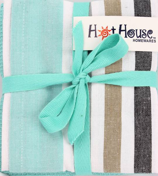 THREE PACK-Tea towel 'Atlanta' aqua Code: T/T-ATL/3PK/AQU