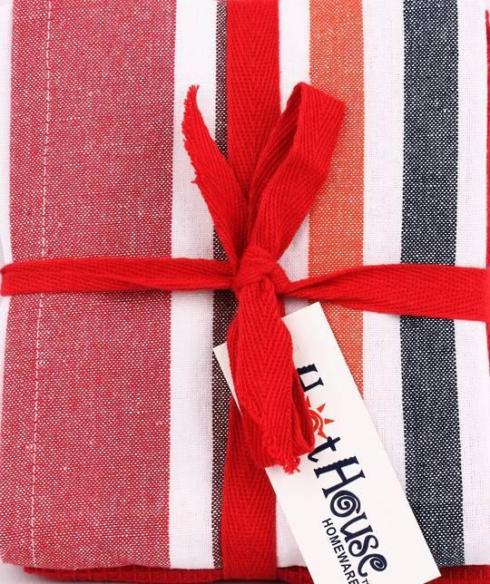 THREE PACK-Tea towel 'Atlanta' red Code: T/T-ATL/3PK/RED