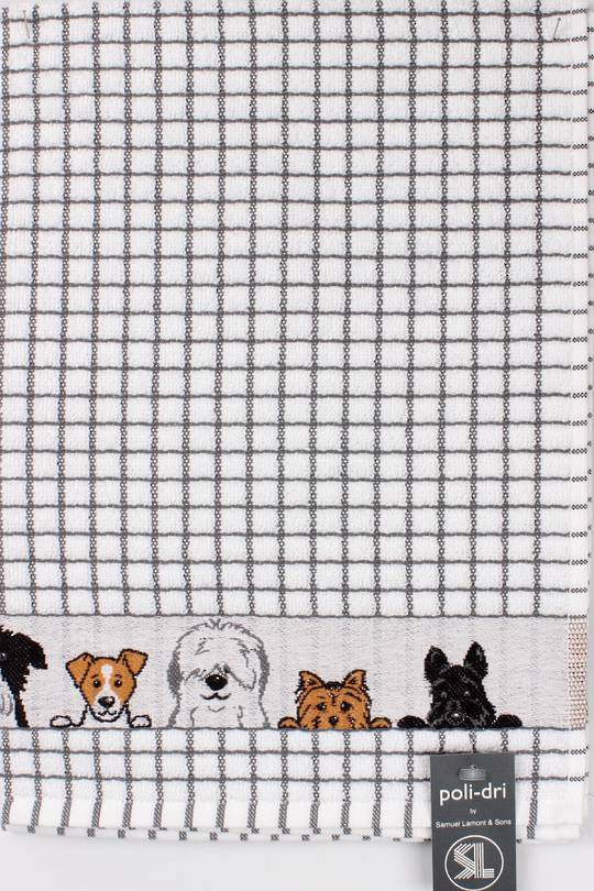 Samuel Lamont poli dri charcoal dogs  tea towel Code:TT-706JDOGS