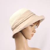 HEAD START  crochet crown w cotton brim ivory/beige   Style:HS/9133
