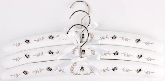 Embroidered coat hangers-set of 3 'Bee' Code:EH/BEE