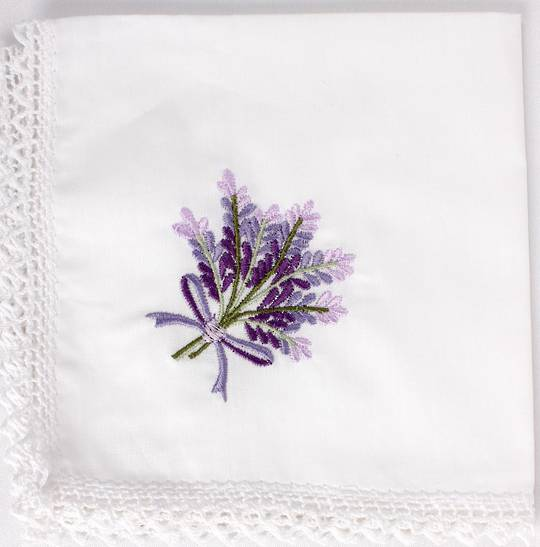 Embroidered lace handkerchiefs 'lavender ' Style: EHC-LAV