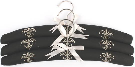 Embroidered coat hangers-set of 3 'Fleur' Code:EH/FLEUR/BLK