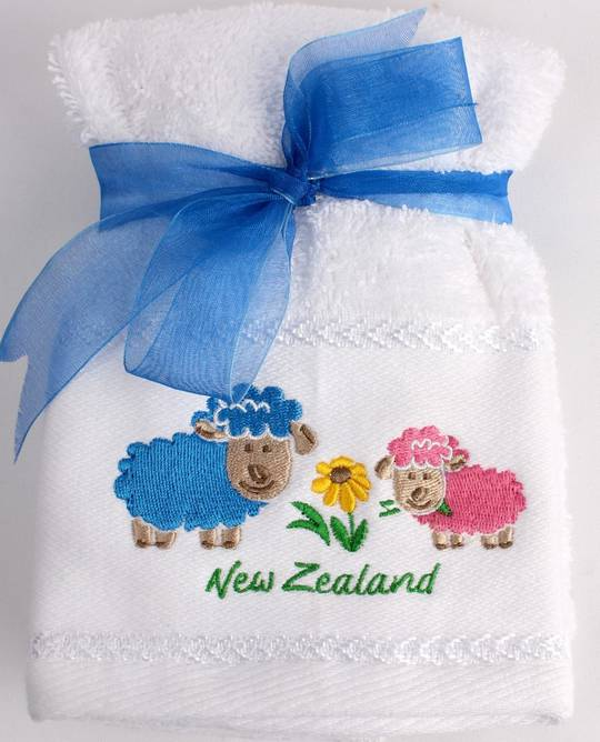 Matching Embroidered 2 facecloth gift set- Bright sheep Code: FAC-BS/2SET