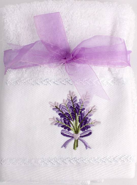 Matching Embroidered 2 facecloth gift set - Lavender Code: FAC-LAV/2SET