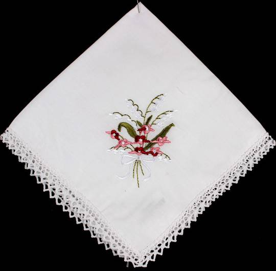 Embroidered lace handkerchiefs 'Floral Pink' Style: EHC/FLO/PIN