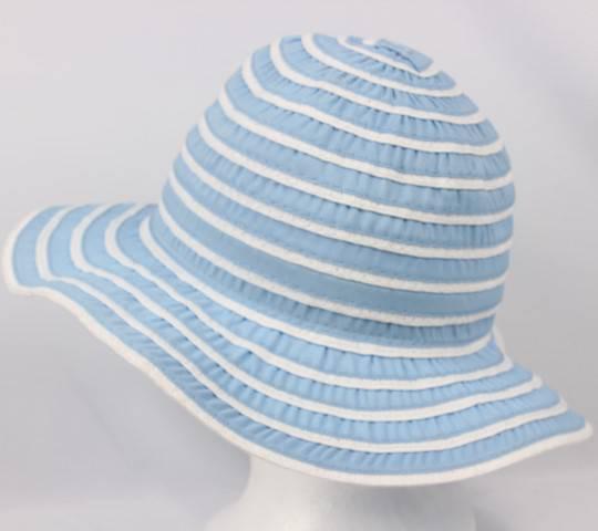 Striped braid hat w small brim blue/wht Style HS/1384