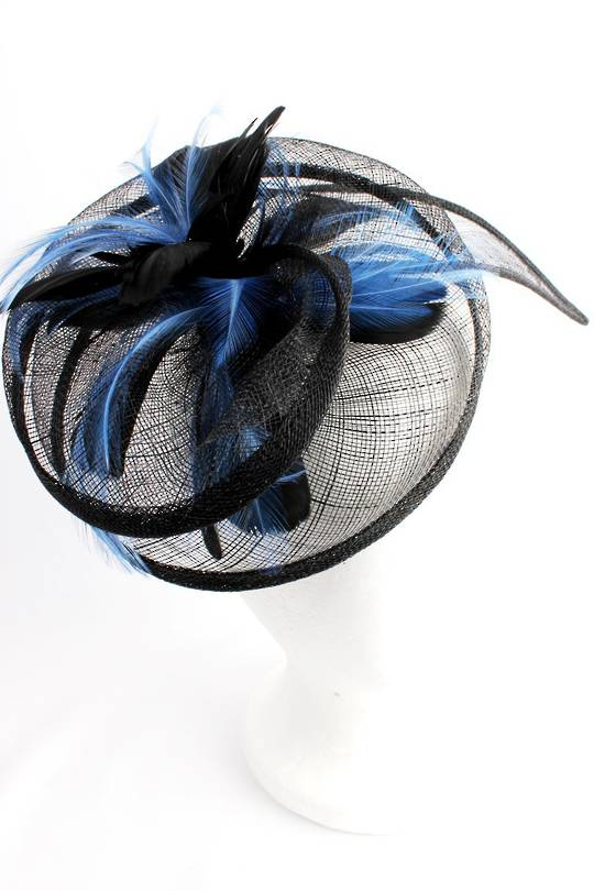 Hatinator in sinamay w blk and blue feathers, a curved extended base, band, black Style: HS/3003/BLK