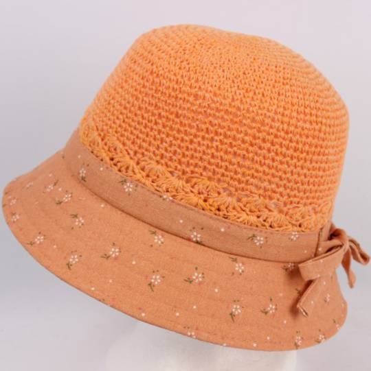Cotton bucket hat light orange Style:HS/9083