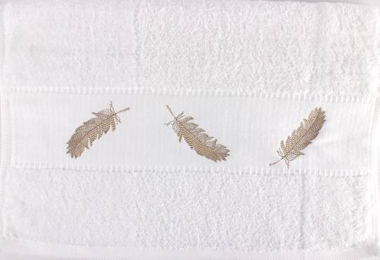 Embroidered cotton hand towel 40x80cm 'Feathers' Code: HT-FEA