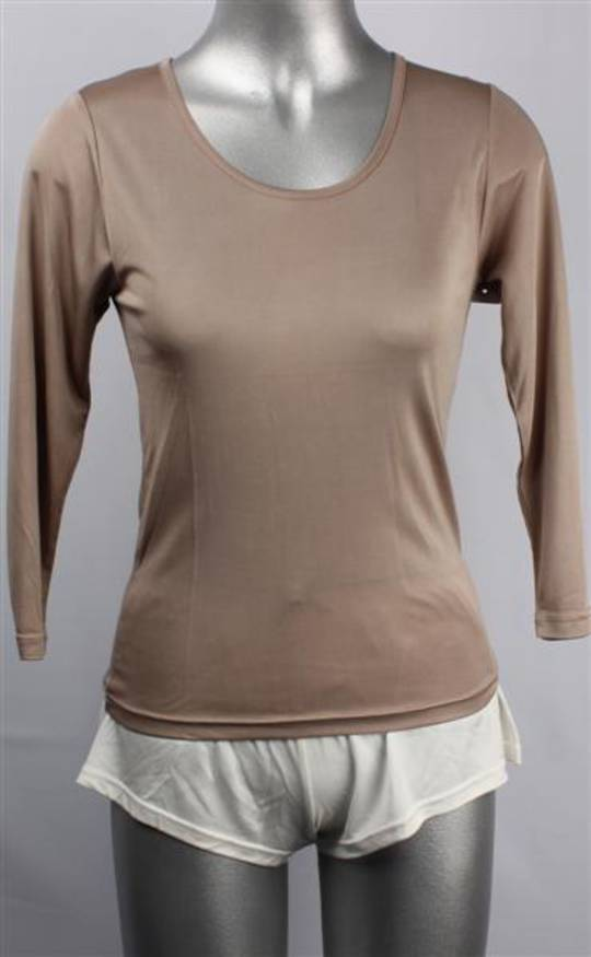 Pure silk  long sleeve camisole top taupe Code:AL/SILK/1