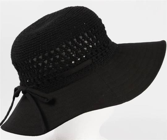Medium brim poly cotton bucket w bow black Code: HS/9050