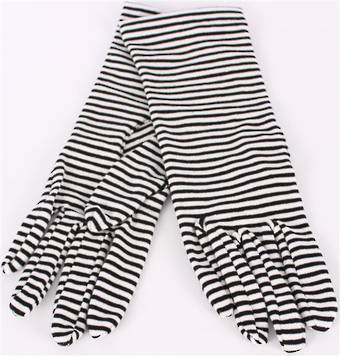 Striped fine knit glove black/white S/LK3254