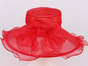 Picture hat organza with bow red Code:HS/1004