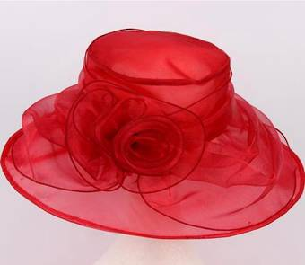 Wide brim organza with flower red Code:HS/1179