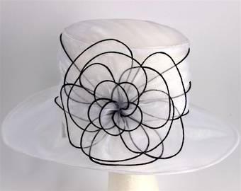 Organza fashion hat white Code:HS/1216