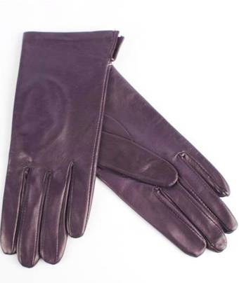 Italian Leather ladies glove with silk purple lining Code-S/LL2394S