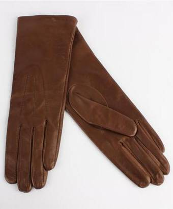 Italian Leather ladies glove with silk lining havana Code-S/LL2724s