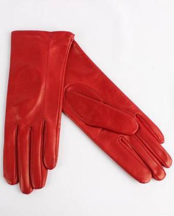 Italian Leather ladies glove with silk lining red Code-S/LL2867S