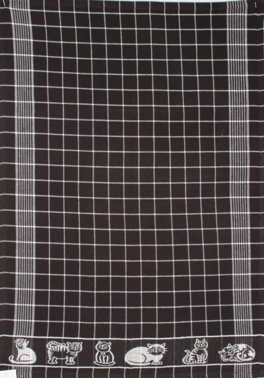 Tea towel jacquard cats black Code: TT-JAC/CAT/BLK CLEARANCE $2.50ea