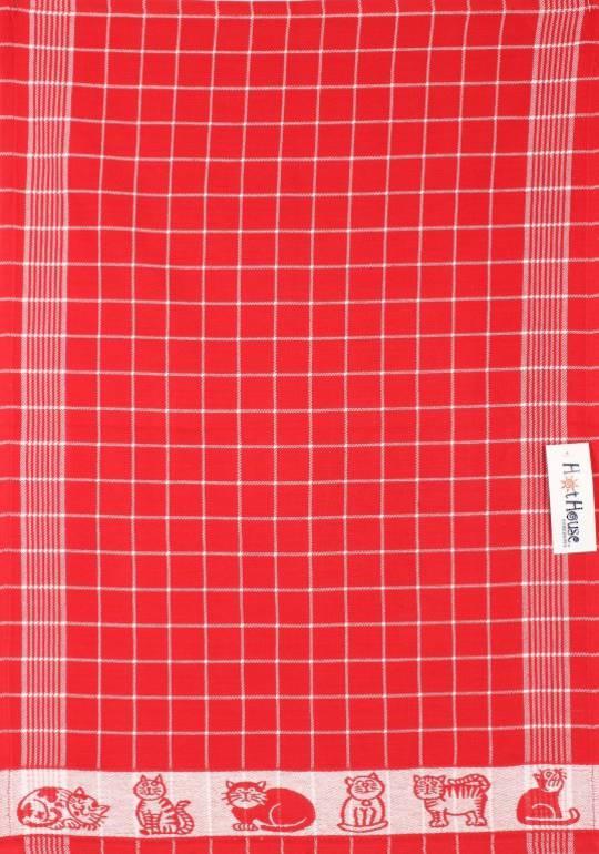 Tea Towel jacquard red Code: TT-JAC/CAT/RED  CLEARANCE$2.50ea