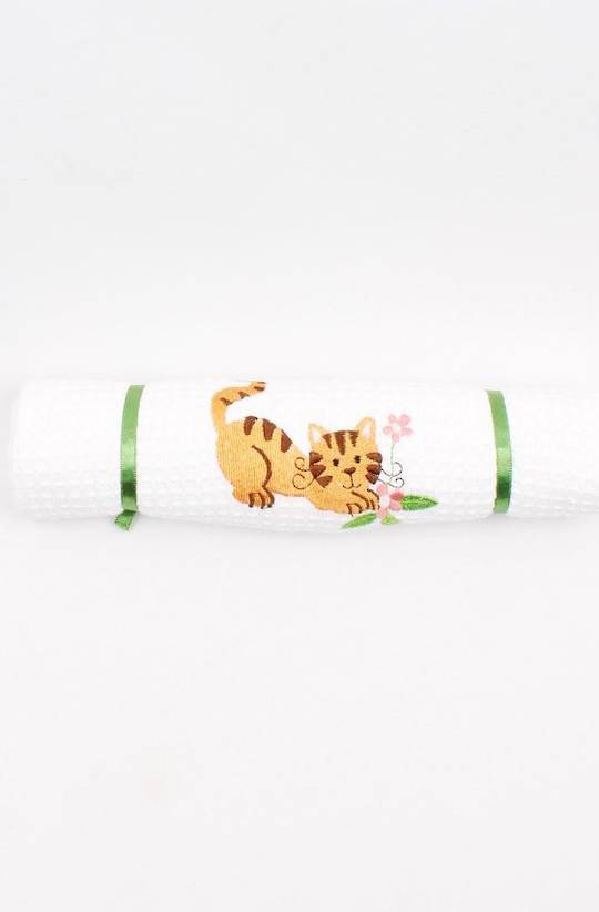 Embroidered cotton waffle weave tea towel 'kitten' Code : T/T-EMB/KIT