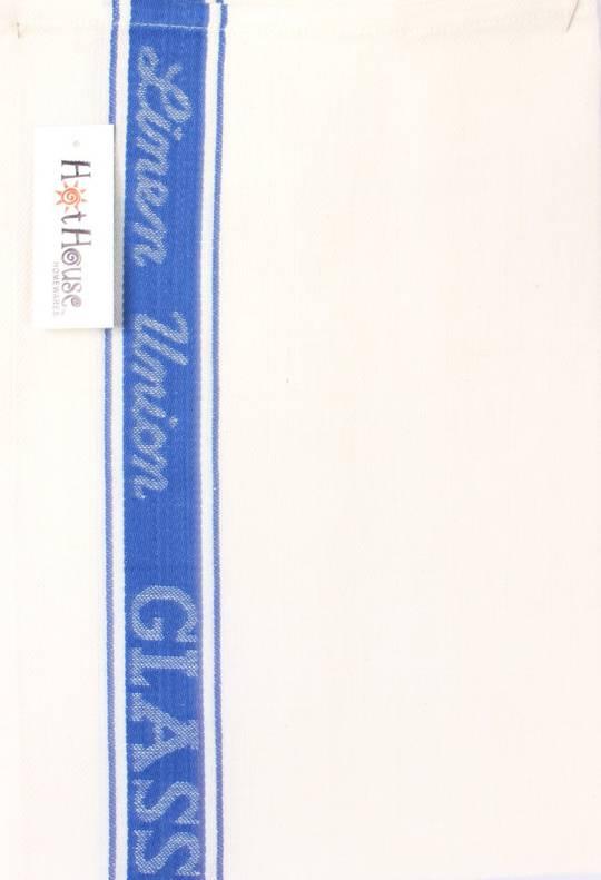 Tea Towel linen union glass cloth 50/50 linen/cotton -herringbone weave blue Code: T/T-LIN/GLA/BLU