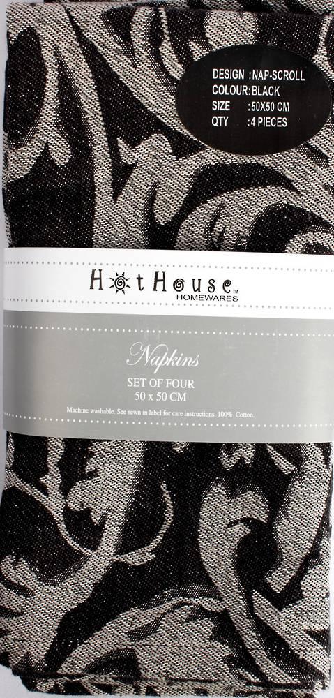 Scroll jacquard  napkins set of 4 black (50X50cm) Code:NAP-SCR/BLK