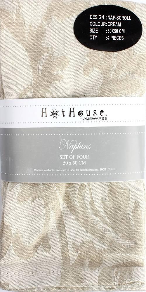 Scroll jacquard  napkins set of 4 cream (50X50cm) Code:NAP-SCR/CRM